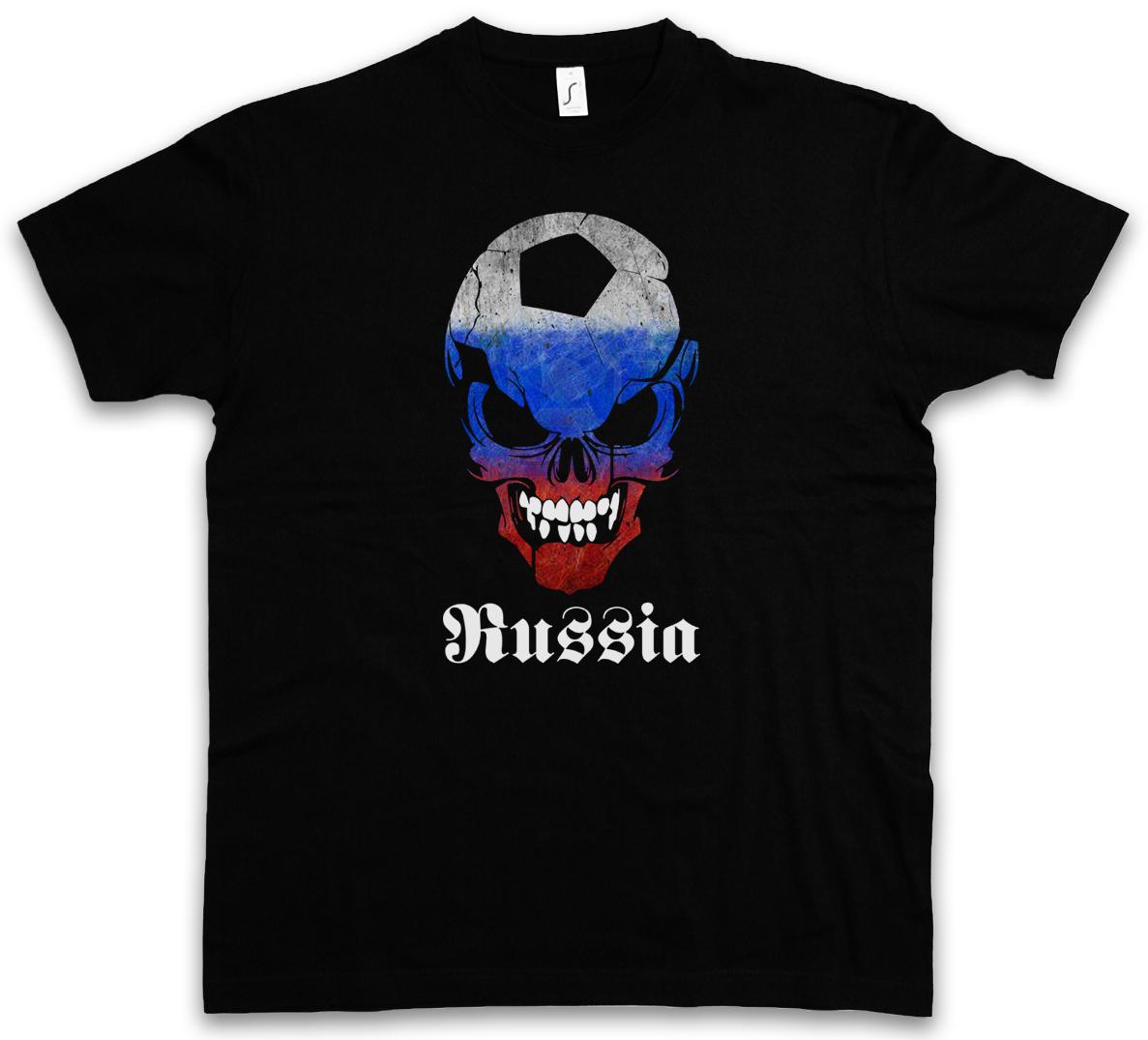 RUSSIA RUSSIAN FOOTBALL SOCCER SKULL FLAG T-SHIRT