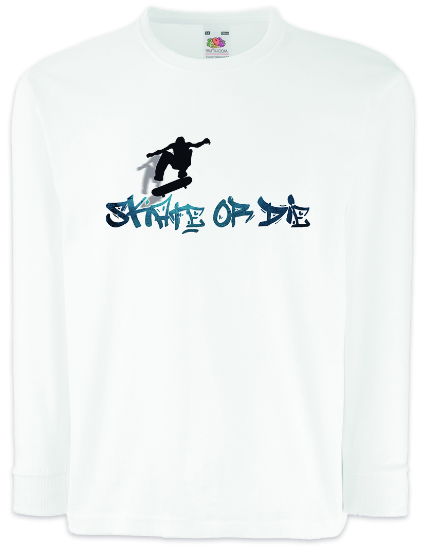 Clothes, Shoes & Accessories Skate Or Die Kids Long Sleeve T-shirt Skateboard Skater Kickflip Halfpipe Sk8