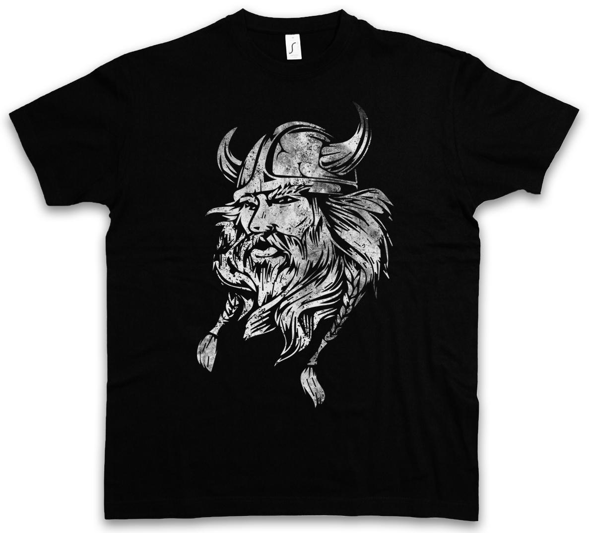 Odin Face Runes Valhalla T Shirt Viking Norse Gothic Pagan Tee Present Gift Idea